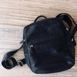 Fossil black leather mini backpack